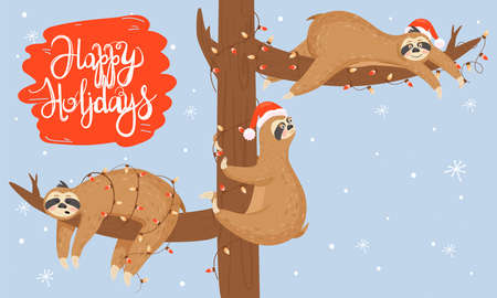 Christmas and Happy New Year card with slothes. Cute lazy slothes hanging on a branch. Animal wearing Santa hat and garland. Standard-Bild - 150597876