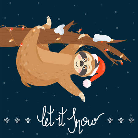 Christmas and Happy New Year card with sloth. Cute lazy sloth hanging on a branch. Vector illustration.