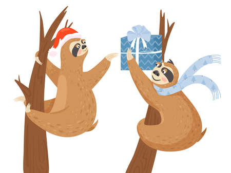 Happy New Year greeting card. Cute slothes with gift box. Sloth gives another sloth a Christmas present. Vector illustration. Illustration