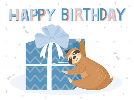 Cute happy birthday card with sloth. Happy lazy sloth with gift Illustration