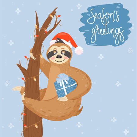 Christmas and Happy New Year card with sloth. Cute lazy sloth with gift. Animal wearing Santa hat.