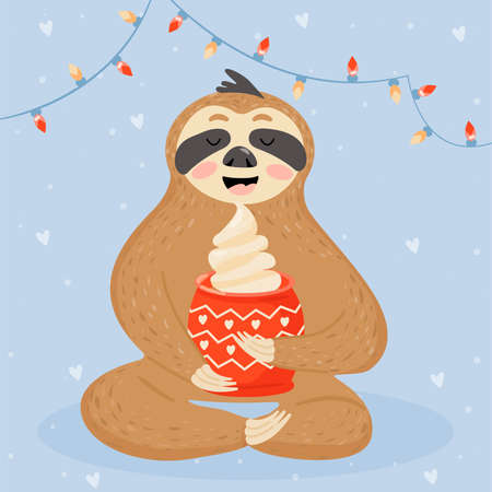 Greeting card with sloth. Cute lazy sloth with mug of cacao. Vector illustration. Illustration