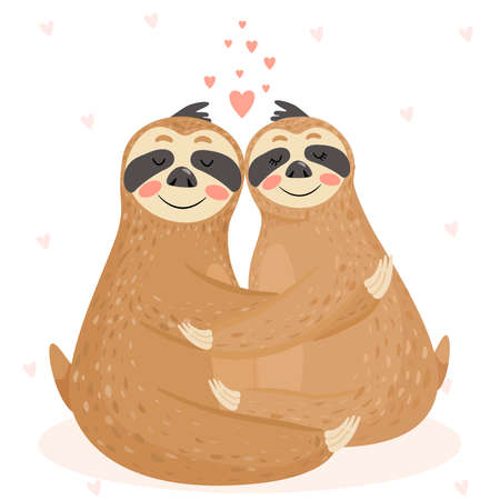 Valentine's day card with couple of cute sloths. Illustration