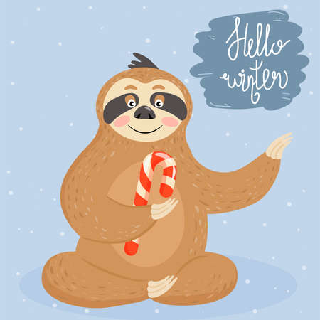Christmas and Happy New Year card with sloth. Cute lazy sloth with candy cane. Vector illustration.