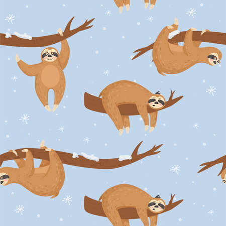 Seamless Christmas pattern with cute lazy sloths.