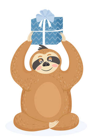 Greeting card with sloth. Cute lazy sloth with gift. Vector illustration. Illustration
