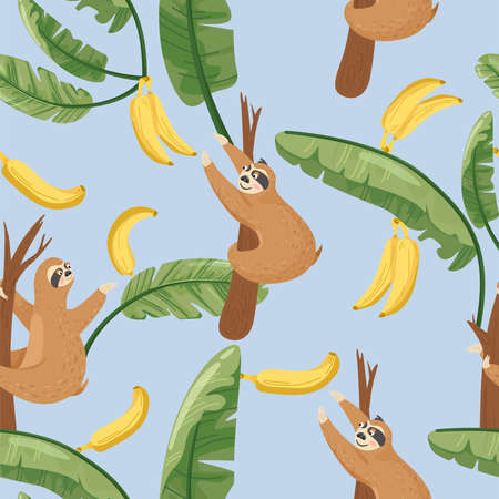 Seamless pattern with cute lazy sloths and exotic palm banana leaf. Vector jungle floral background for textile, postcard, wrapping paper, cover, t-shirt.