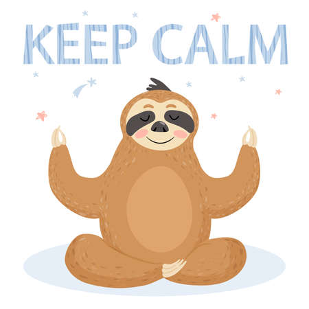 Funny cartoon sloth sitting in yoga pose. Vector illustration.
