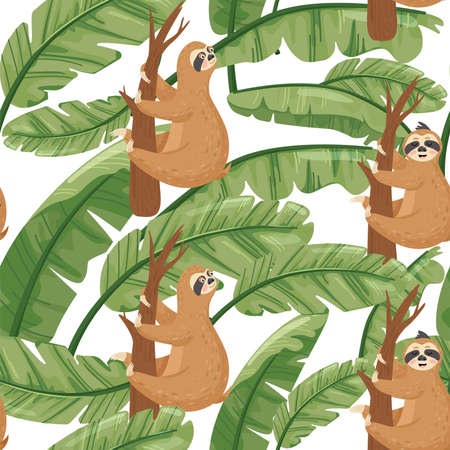 Seamless pattern with cute lazy sloths and exotic palm banana leaf. Vector jungle floral background for textile, postcard, wrapping paper, cover, t-shirt. Standard-Bild - 150943798