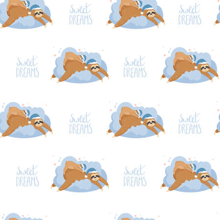 Cute cartoon mother sloth and baby sleeping on a cloud. Animal wearing nightcap. Funny animal cartoon character vector Illustration.