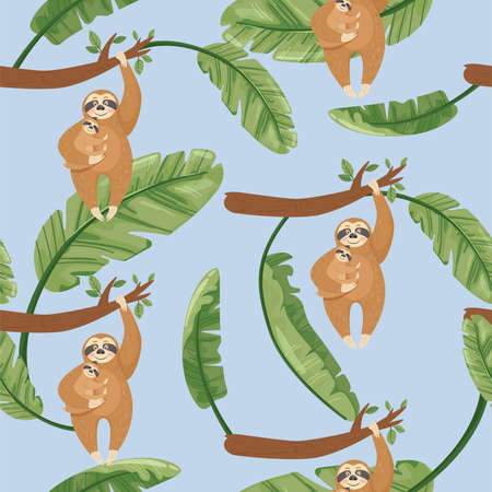 Seamless pattern with Mother sloth and baby hanging on a branch. Vector jungle floral background for textile, postcard, wrapping paper, cover, t-shirt.