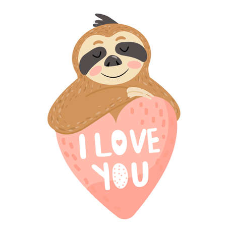 "Valentine's day card with sloth in love. Text ""I love you�. Vector illustration on white background."