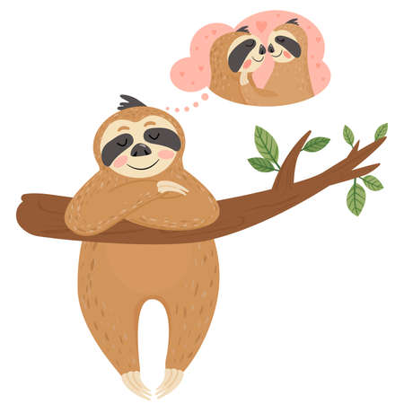 Valentine's day card with sloth in love. Animal dreams of love. Vector illustration on white background.