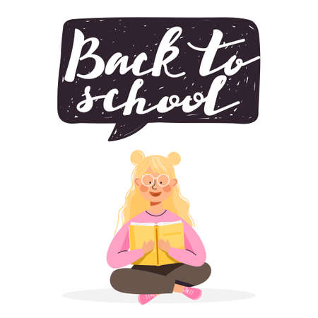 """School time or education illustration. Young girl character holding open book and reading. Speech bubble with lettering """"back to school"""". Vector on white background."""
