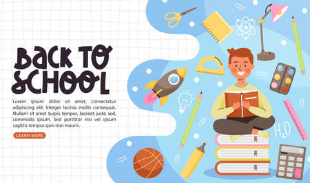 School time or back to school banner template. Young boy character reading book and sitting on a stack of books. Composition with books, calculator, stationery, rocket, ball etc. Vector web page banner illustration.
