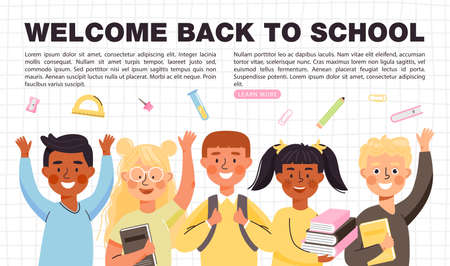 Back to school concept banner with copy space. Elementary school students different ethnicities with books, backpacks and stationery. Happy children go to school. Vector template.