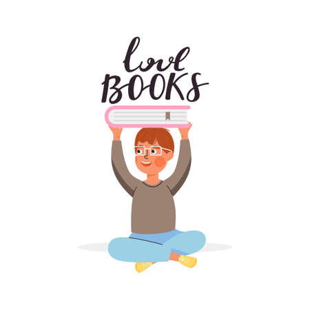 School time or book festival illustration. Young boy character holding book. Typography slogan design