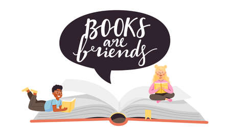 """School time or book festival illustration. Open huge book with young children characters. Speech bubble with lettering """"books are friends�. Vector on white background."""