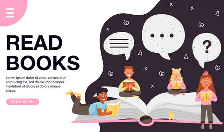 Read books design concept. Young children characters reading books. Group of kids studying and learning. Vector web page banner illustration. Illustration