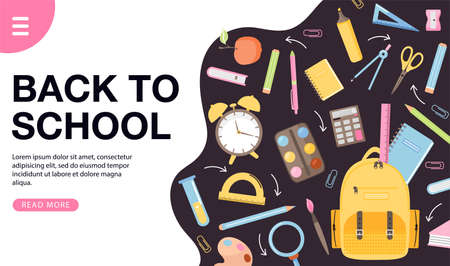 School time or back to school banner design. Various school supplies. Books, backpack, alarm clock, stationery, ball etc. Vector web page banner illustration.