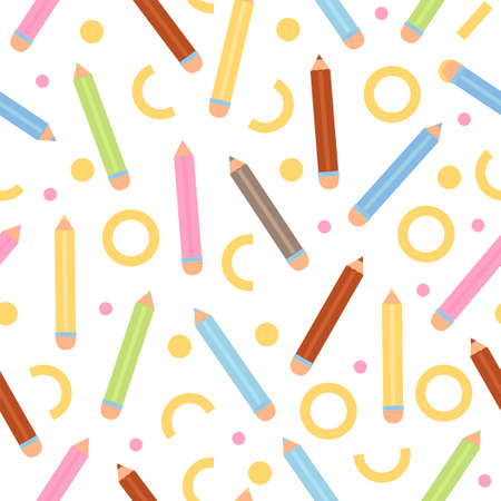 Seamless pattern with various colorful pencil and abstract element. Back to school illustration on white background. Illustration