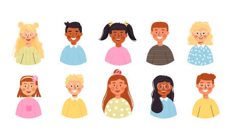 Set of kid avatars. Young boys and girls character different nationalities. Vector illustration isolated on white background.