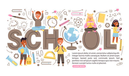 Back to school concept banner with copy space. Young children characters with books and backpacks. Various school supplies and creative lettering. Vector illustration.