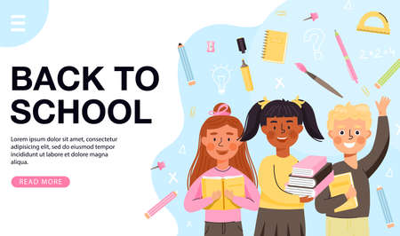 School time or back to school banner template. Young children characters with books. Composition with notebook, marker, brush etc. Vector web page banner illustration.