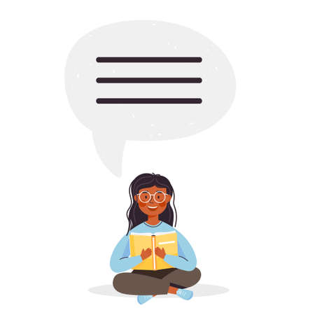School time or education illustration. Young girl character holding open book and reading. Speech bubble with thinking. Vector on white background.