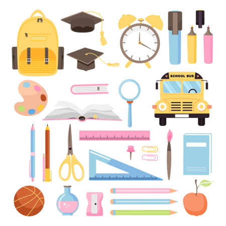 School time or back to school set. Collection of various school supplies. Illustration on white background. Illustration