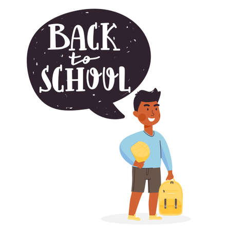 """School time or education illustration. Young boy character holding ball and backpack. Speech bubble with lettering """"back to school�. Vector on white background. Illustration"""