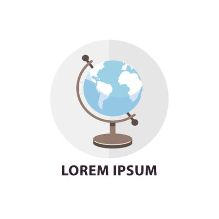School globe flat icon. Circle shape composition with text. Vector illustration. Illustration