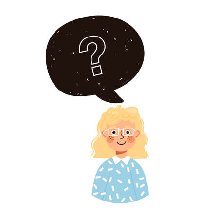 Young girl character and speech bubble with question mark. Vector illustration isolated on white background.