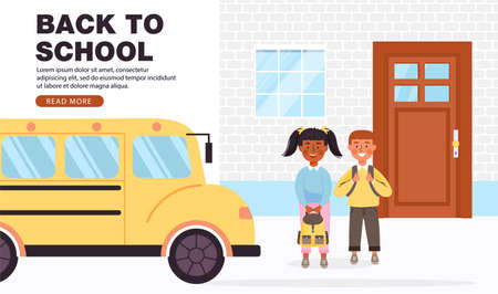 Back to school concept banner with copy space. Elementary school student with backpacks. Happy children go to school by bus. Vector illustration.