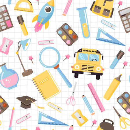 Seamless pattern with various school supplies. Back to school illustration on checkered background. Illustration