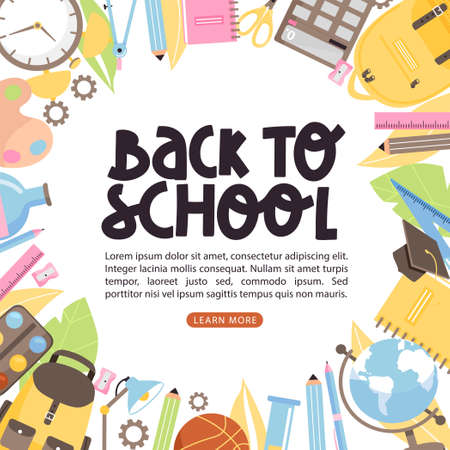 School time or back to school banner illustration. Creative lettering with books, backpack, stationery, globe, alarm clock etc. Vector composition with copy space. Illustration