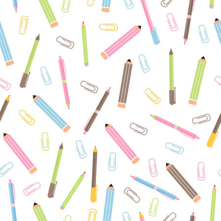Seamless pattern with various school supplies. Back to school illustration on white background. Vector Illustratie