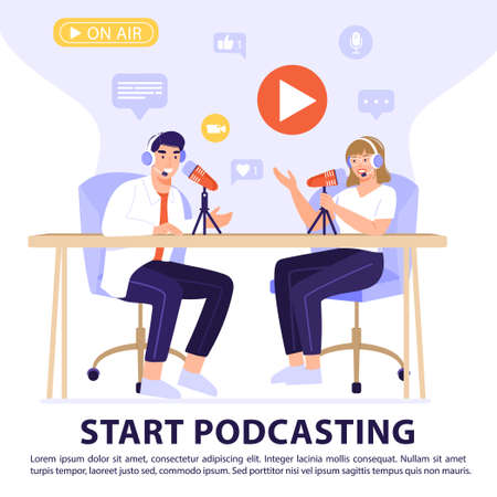 Podcast or interview concept. Podcasters recording a podcast with microphone and headphones. Vector banner illustration. Illustration