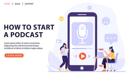 Podcasting, broadcasting, online radio or interview concept. Woman with big smart phone using podcast application. Podcaster recording podcast in studio with microphone and headphones. Vector web page banner illustration.