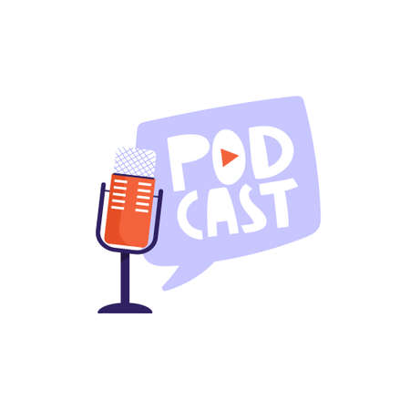 """Podcasting, broadcasting, online radio or interview composition. Studio microphone with headphones and lettering word """"podcast�. Sound recording device vector illustration. Illustration"""