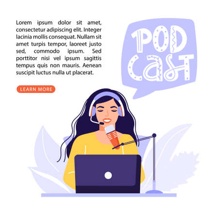 Podcast or interview concept. Podcaster recording podcast in studio with microphone and headphones. Lettering composition with copy space. Vector banner illustration. Illustration