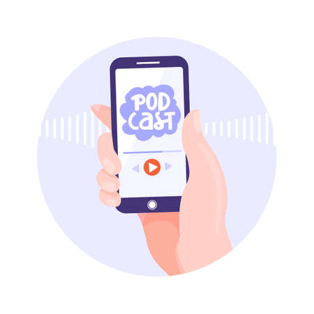 Podcasting, broadcasting, online radio or interview illustration. Smartphone in hand with podcast app. People listen to a podcast. Vector circle shape composition. Illustration
