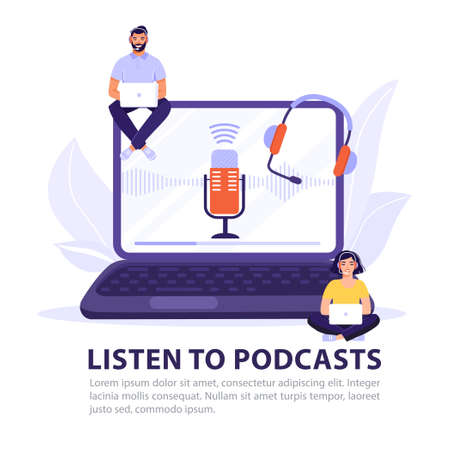 Listen to podcast concept design. People with headphones listens to a podcast. Laptop screen with microphone and headphones. Vector banner illustration.