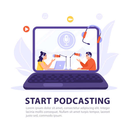 Podcasting, broadcasting, online radio or interview concept. Podcaster recording podcast on computer screen and having conversation. Host interviewing guest. Vector banner illustration.