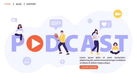 Podcast word lettering concept design. People with headphones listens to a podcast. Vector web page banner illustration. Podcasting, broadcasting, online radio or interview. Illustration