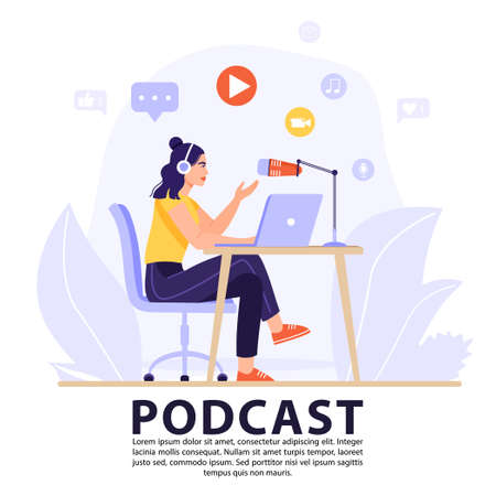 Podcast or interview concept. Podcaster recording podcast in studio with microphone and headphones. Vector banner illustration.