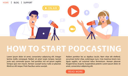 Podcast or interview concept. Podcasters recording a podcast with microphone and headphones. Vector web page banner illustration.