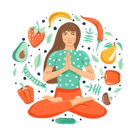 Healthy lifestyle concept. Attractive young woman practicing yoga. Set of vegetables and fruits. White background. Cartoon vector illustration.