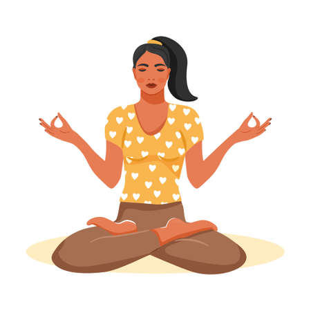 Young woman practicing yoga. Cute girl sitting in lotus posture and meditating. Cartoon vector illustration on white background. Illustration