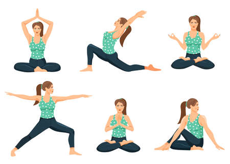 Young woman practicing yoga. Set of cute girls doing various yoga posture. Cartoon vector illustration on white background.